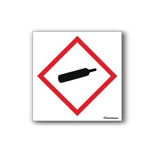 Faropiktogramskylt med farosymbol för trycksatta gaser