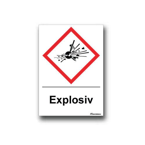 Faropiktogramskylt med farosymbol och text: explosiv