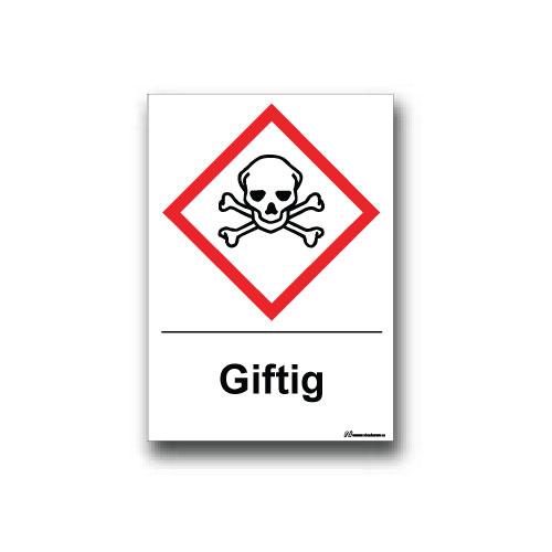 Faropiktogramskylt med farosymbol och text för giftig