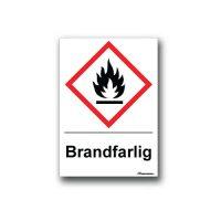 Faropiktogramskylt med farosymbol och text för brandfarlig
