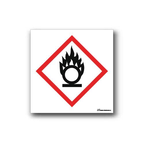 Faropiktogramskylt med farosymbol för oxiderande ämnen