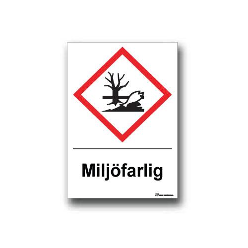 Faropiktogramskylt med farosymbol och text för miljöfara
