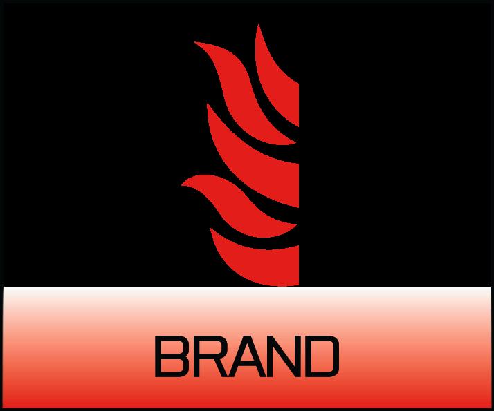 Bild på symbol föreställande en flamma för brandskyltar